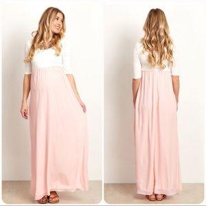 f5d7f631546 Pinkblush Dresses - PinkBlush Maternity Colorblock Maxi Dress